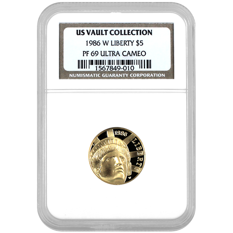 1986 W 5 Dollar Gold Statue Of Liberty Commemorative Coin Pf69 Uc Ngc Us Vault Collection Gold Statue Commemorative Coins Commemoration