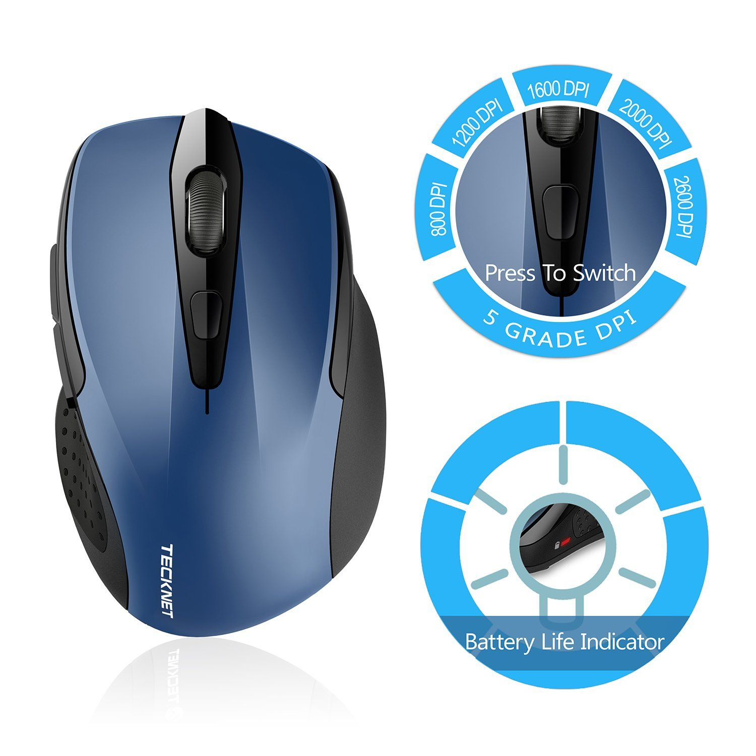c44516b9934 TeckNet Pro 2.4G Ergonomic Wireless Mobile Optical Mouse with USB Nano  Receiver for Laptop,PC,Computer,Chromebook,MacBook,Notebook,6 Buttons,24  Months ...