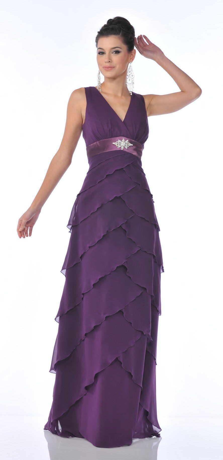 V Neck Eggplant Formal Evening Dress Tiered Layer Skirt Wide Straps ...