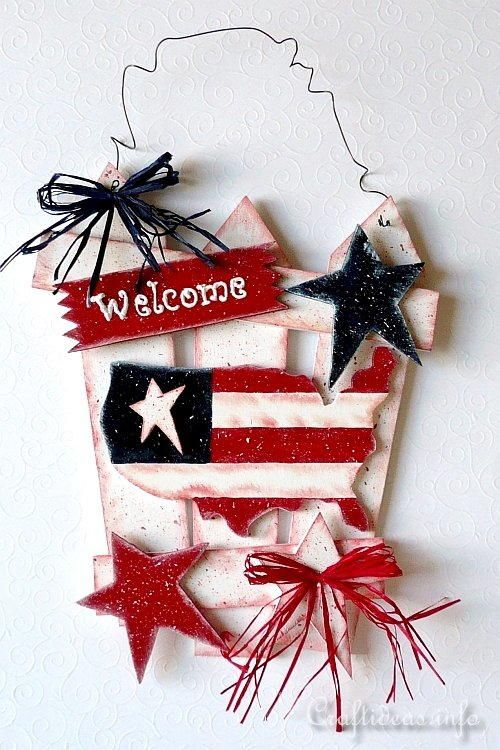 Unfinished Wood Project Kids Craft Patriotic Wood Sign Unfinished Wood Sign DIY Sign 4th of July Craft