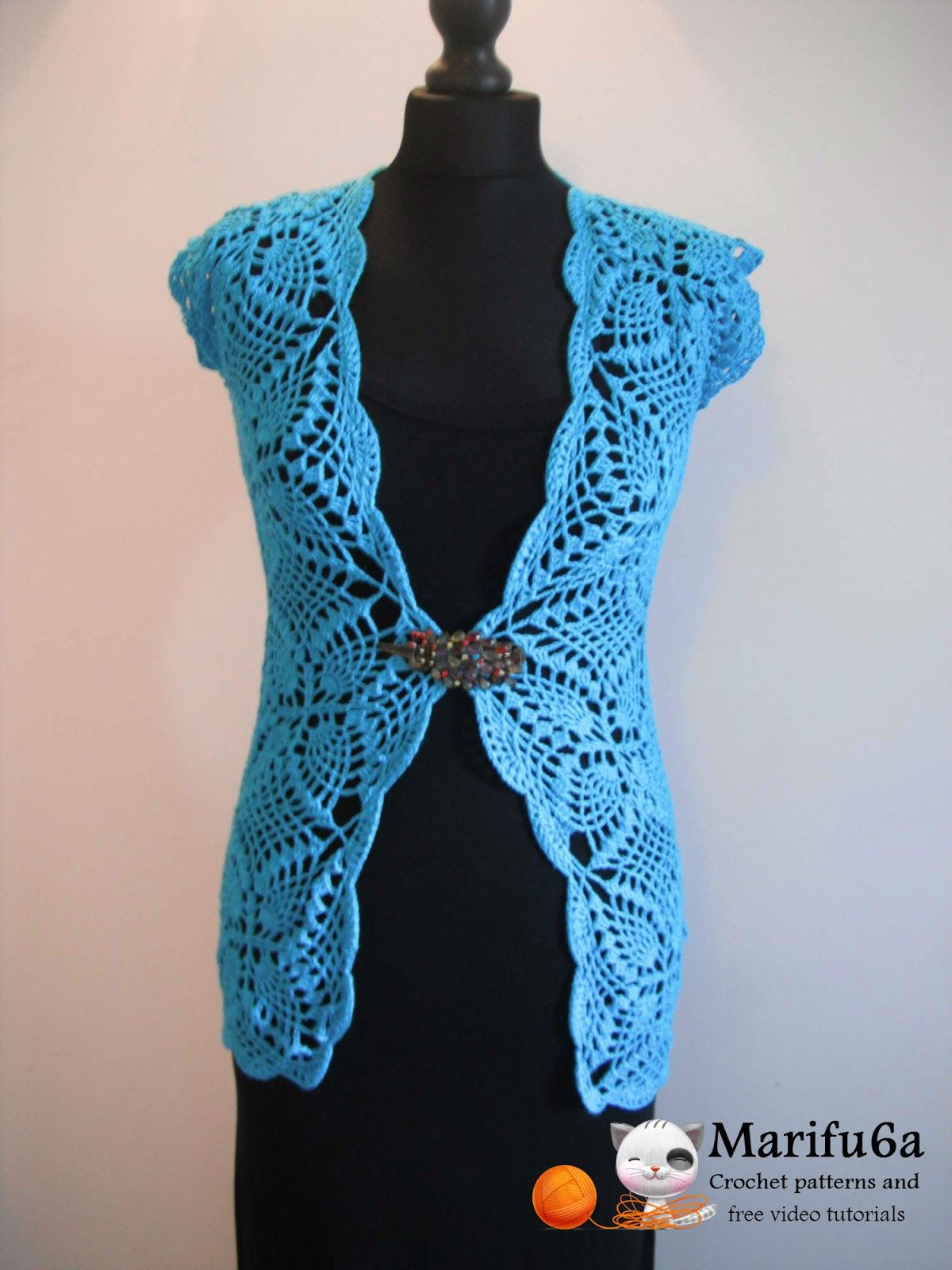Free crochet patterns and video tutorials how to crochet crochet pattern pineapple cardigan by skill level intermediate size s l xl xxxl material yarn and bankloansurffo Choice Image