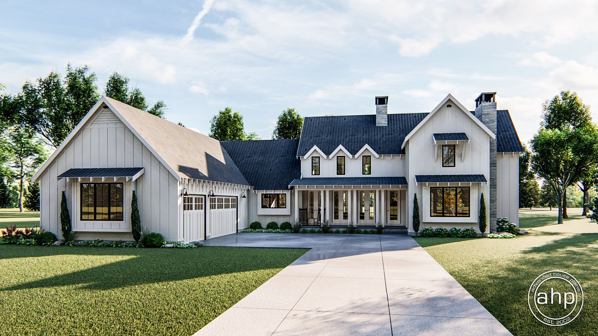 1.5 story Modern Farmhouse plan with cathedral ceilings and 4 bedrooms