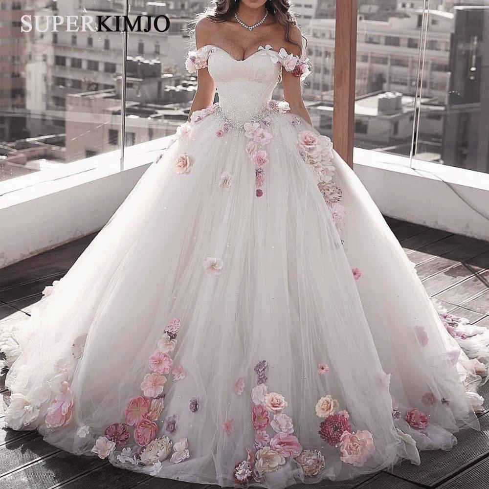 Handmade Flowers Ball Gown Wedding Dresses 2020 Beaded Sparkle