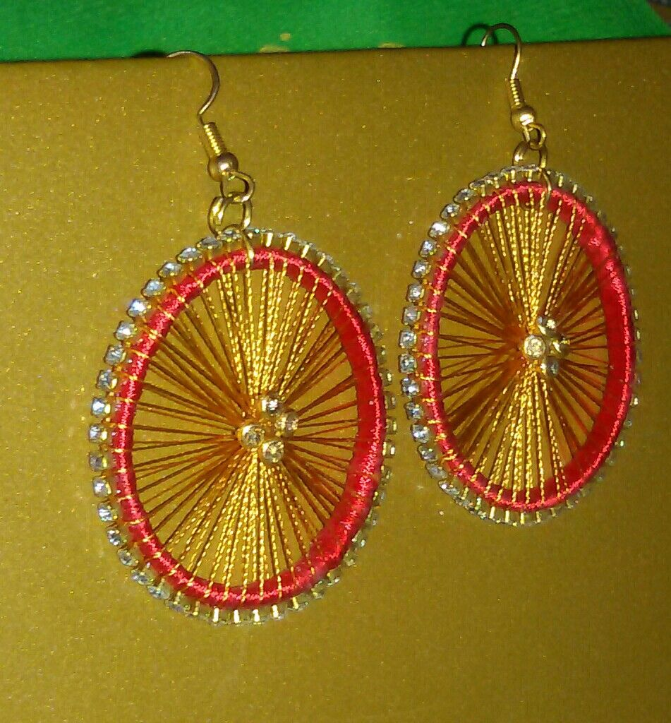 Red And Gold Colour Chakra Wheel Design Silk Thread Earrings Silkthread Handmade Jewellery Diy Unique