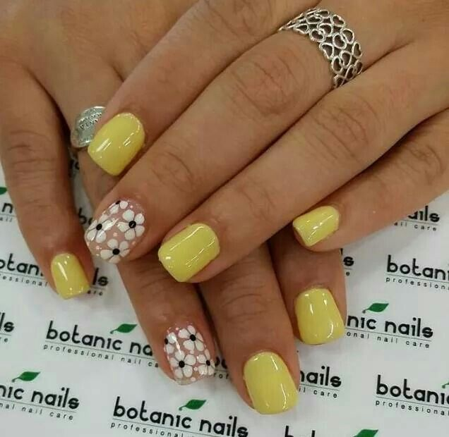 Yellow Green With Flowers Nail Art Nail Design Manicure