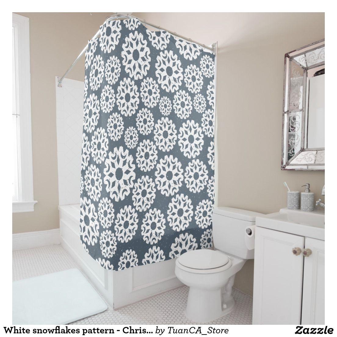 White snowflakes pattern - Christmas gifts   Shower Curtains ...