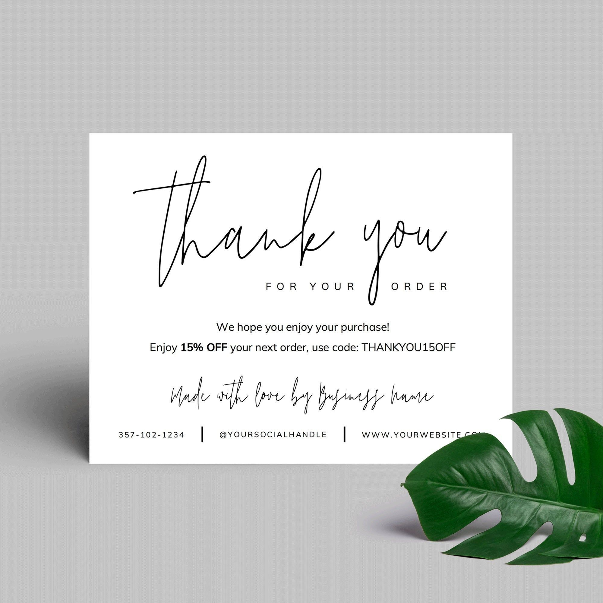 Printable Business Thank You Card Template Corjl | Thank you for your order | Thank you package inserts | Customer thank you for purchase