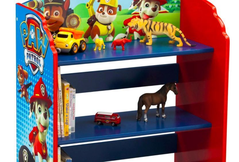 Kids Bookshelf Children Paw Patrol Bookcase Book Storage Furniture Shelf Wood Delta