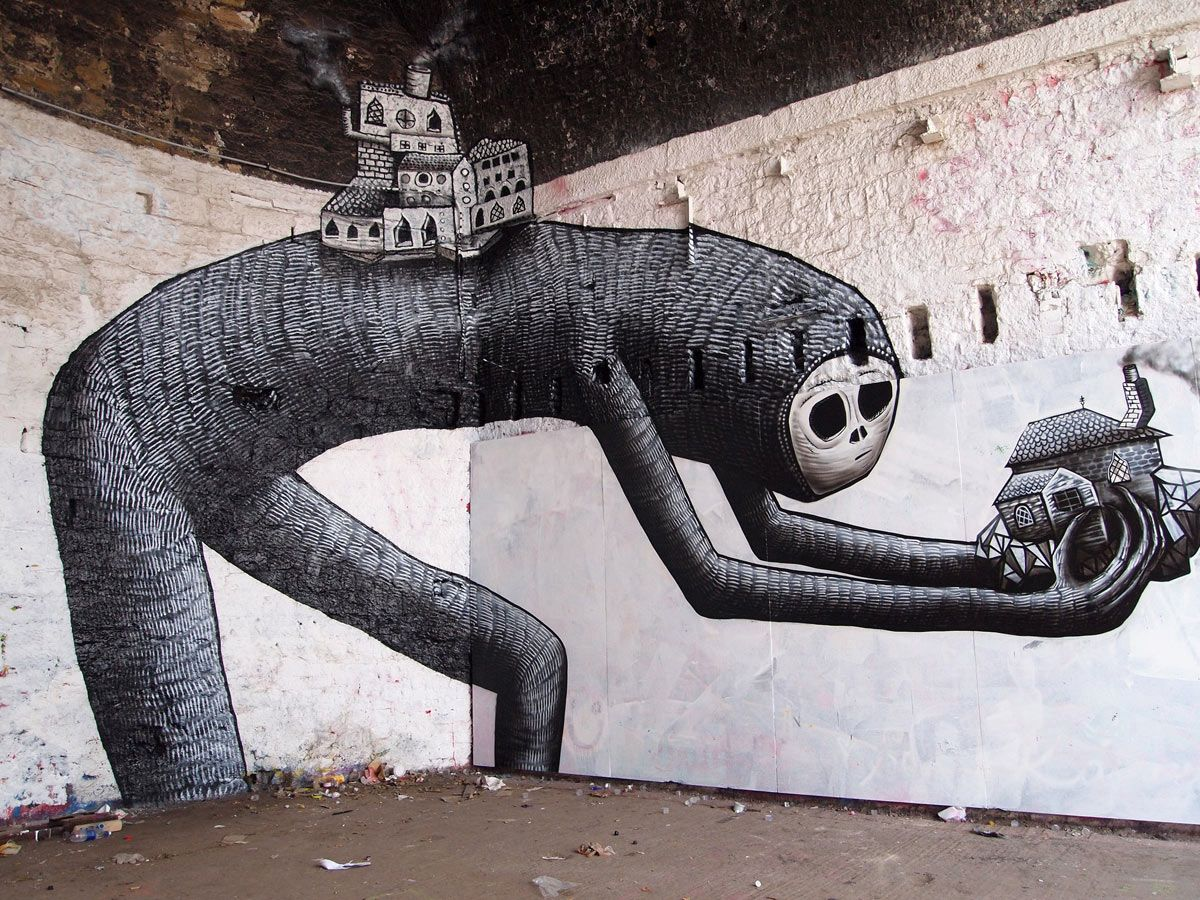 Street Art by Phlegm, located in Newcastle, UK