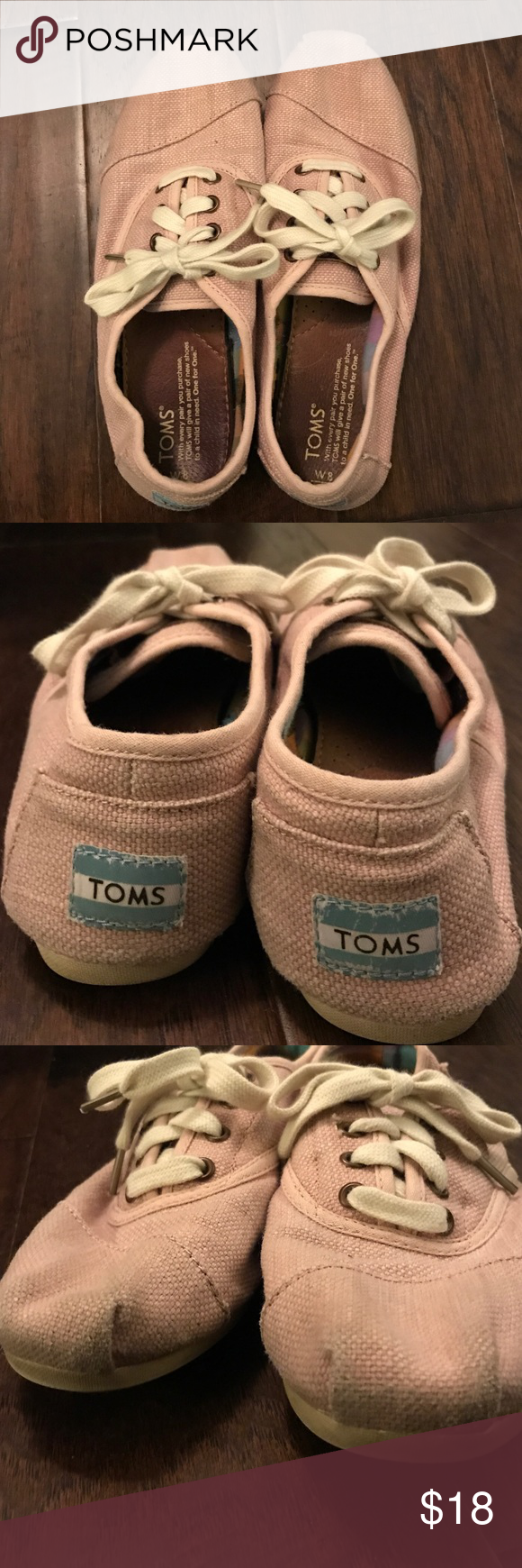 Toms Lace Up Shoes Toms light pink fabric with cream lace. Worn but in good condition. Women's size 8. TOMS Shoes