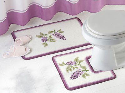 Purple Floral Wisteria Flower Bathroom Rug Set Decor In Home - Floral bathroom rugs for bathroom decorating ideas