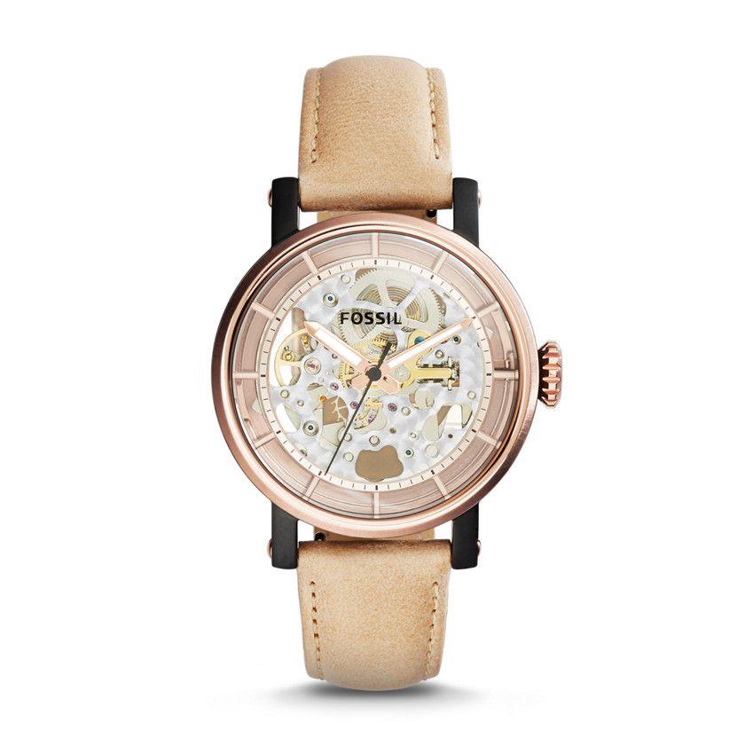 243cd10f140 Original Boyfriend Automatic Sand Leather Watch | Design | Fossil ...