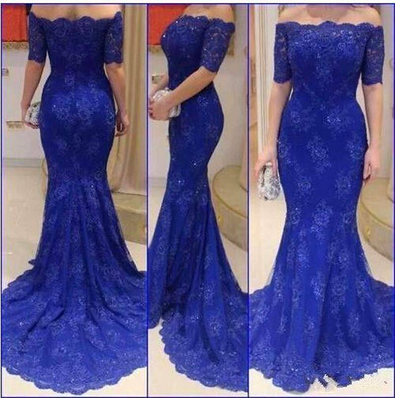 Red lace applique dress blue