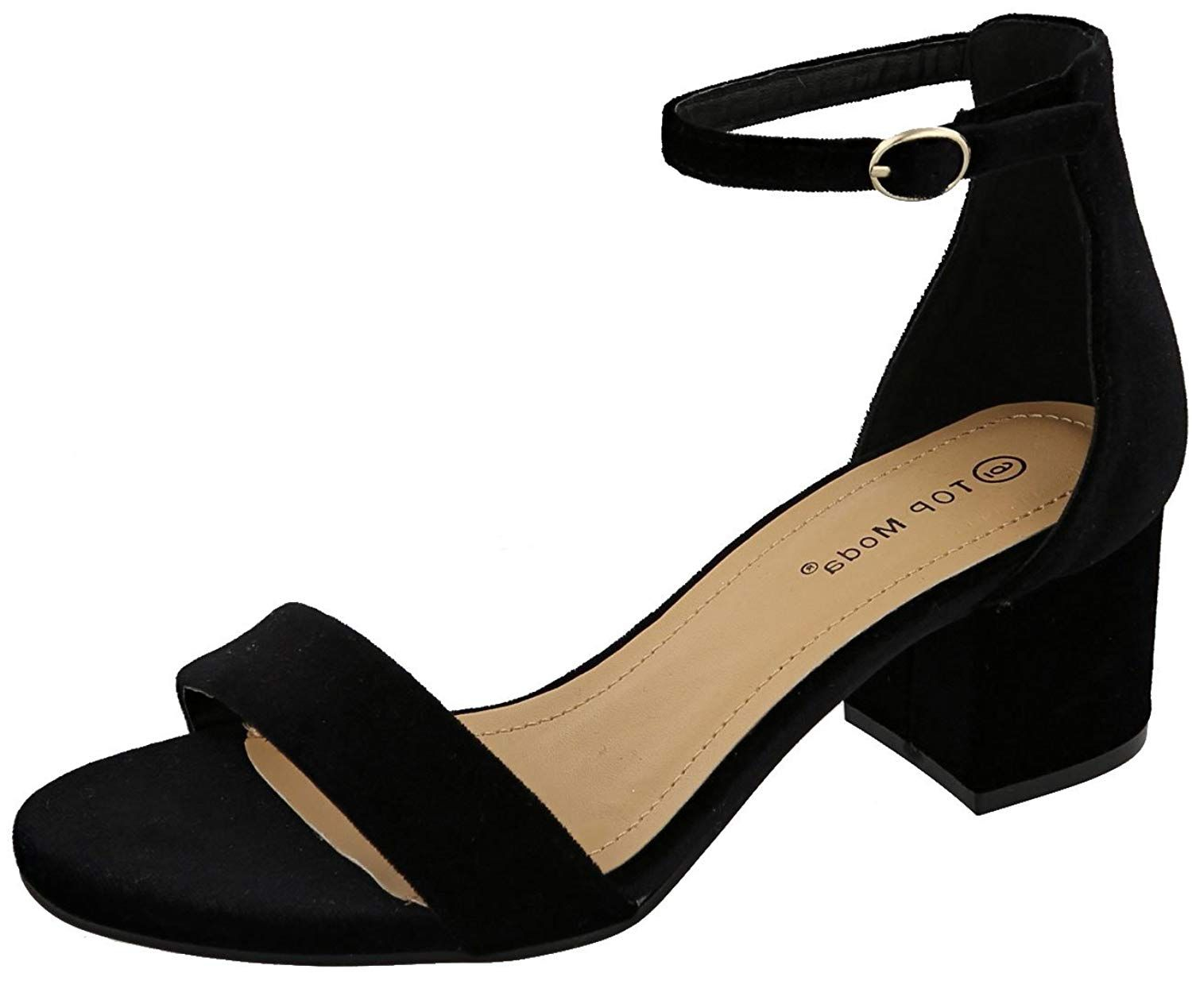8d0d3e8ad9b Top Moda Women s velvet Mary Jane block heel sandal. A must have for three  season wear. Adjustable buckle strap closure with open toe   low ...