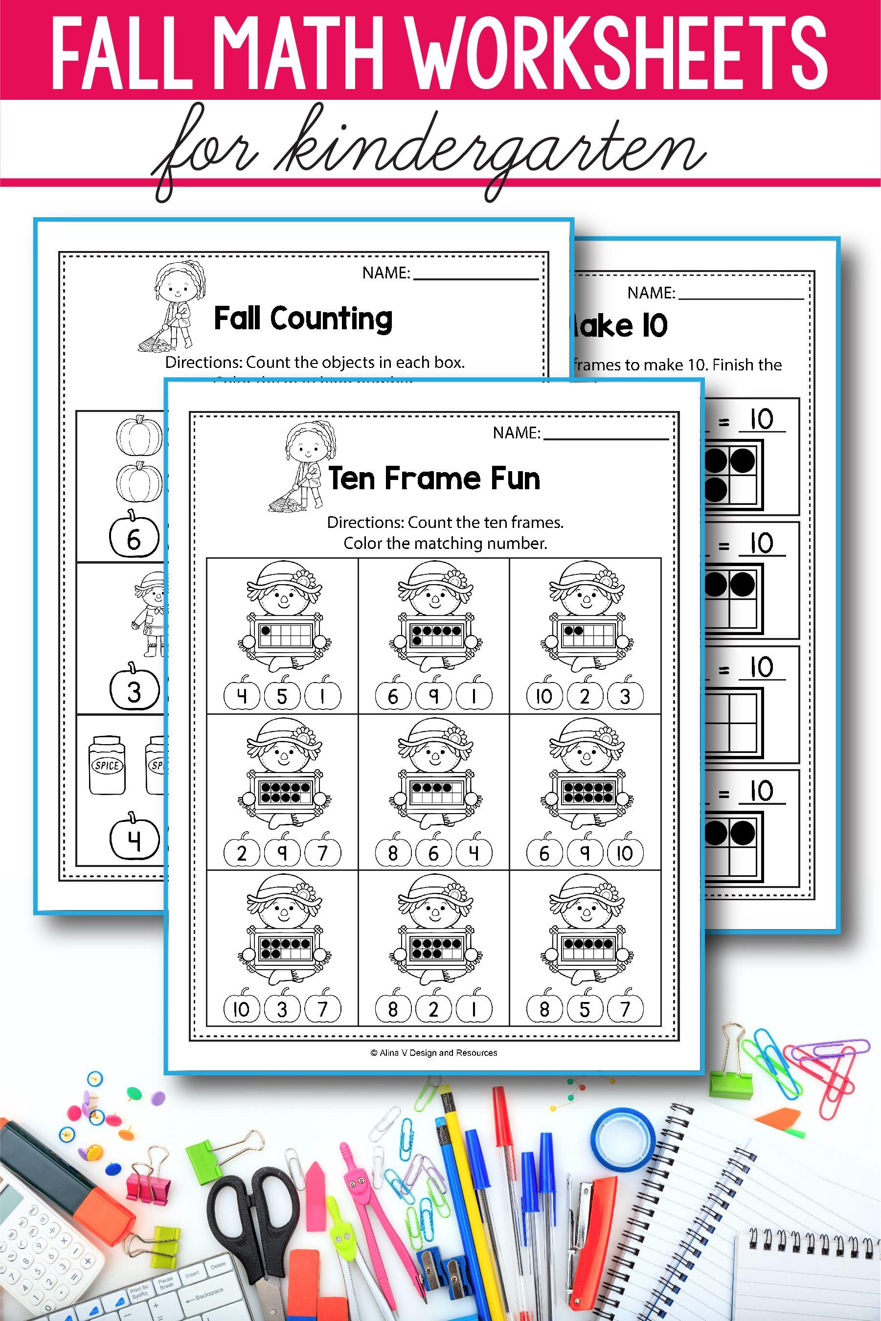 Fall Math Activities For Kindergarten 1st Grade And