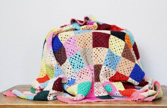 70s crochet blanket, original wool blanket, patchwork blanket ...