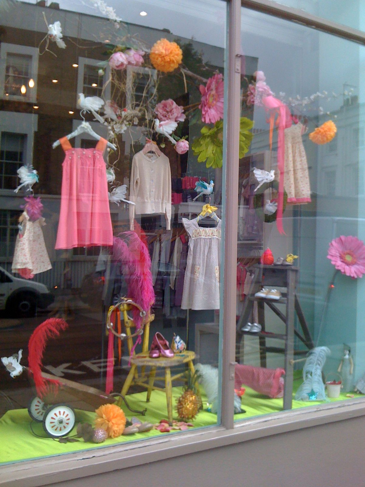 Vibrant new look for our summer window display at our for Boutique window display ideas
