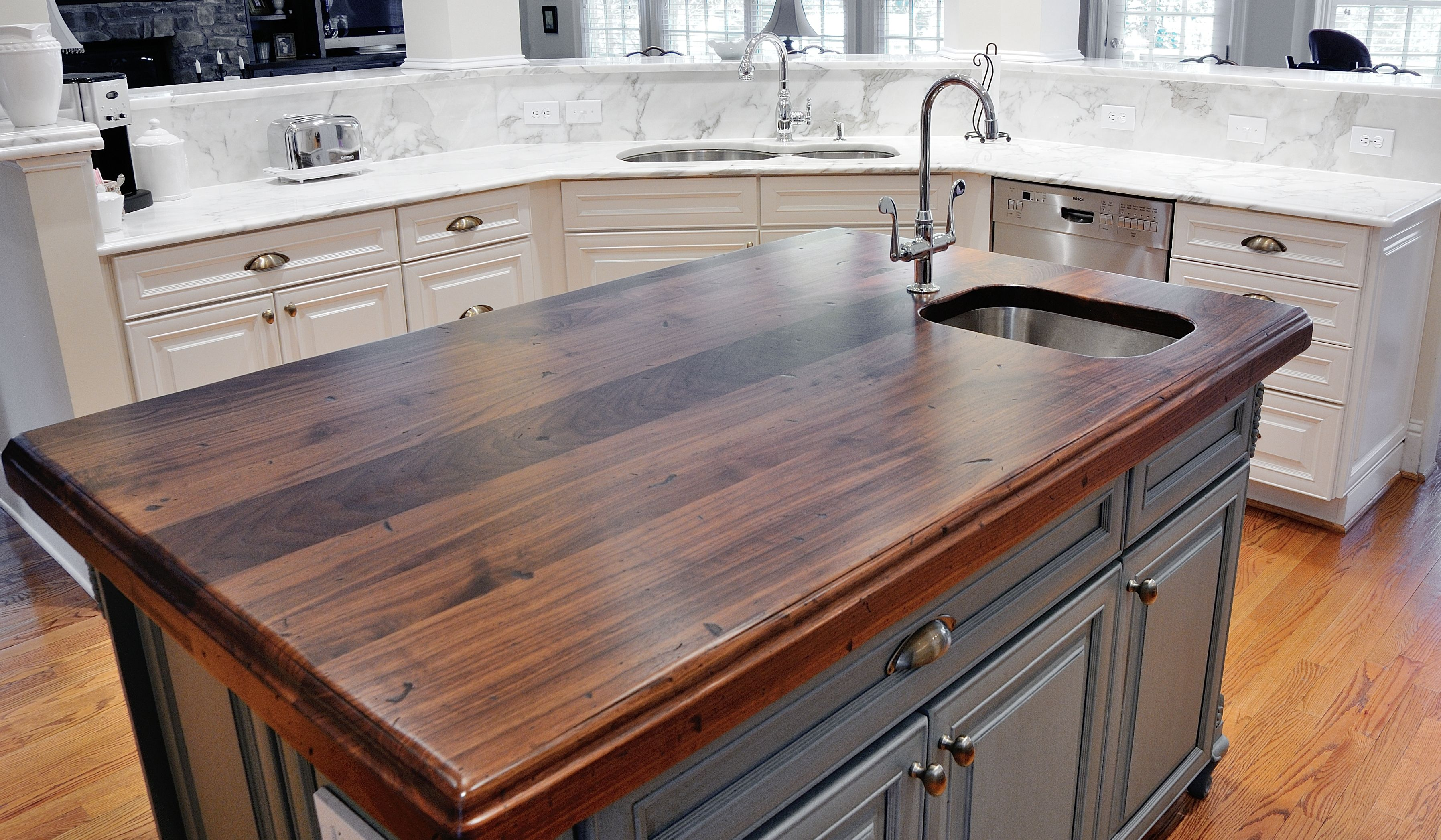 distressed black walnut heritage wood by artisan stone collection countertops kitchen island by atlanta kitchen