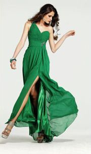 Sexy Chiffon Green One Shoulder Slit Side Prom Dress