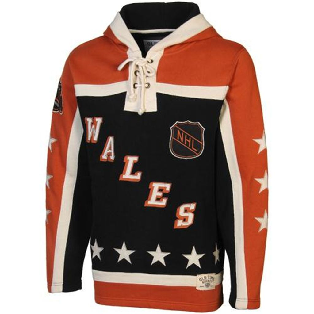 Old Time Hockey Wales Conference 1990 All Star Lace Pullover Hoodie Orange Black Hockey Hoodie Pullover Hoodie Orange Black