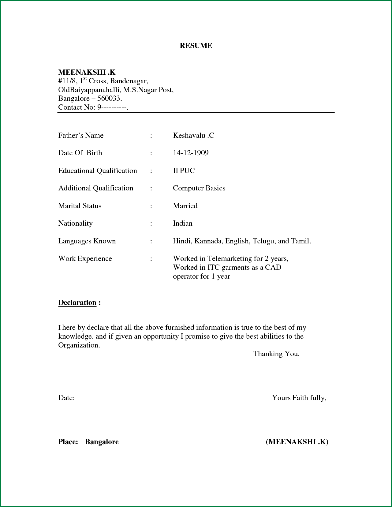 Simple Resume Format For Freshers In Word FilePng