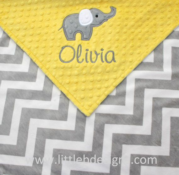Personalized Baby Blanket with Elephant Applique - Canary Yellow ... : yellow and gray baby quilt - Adamdwight.com