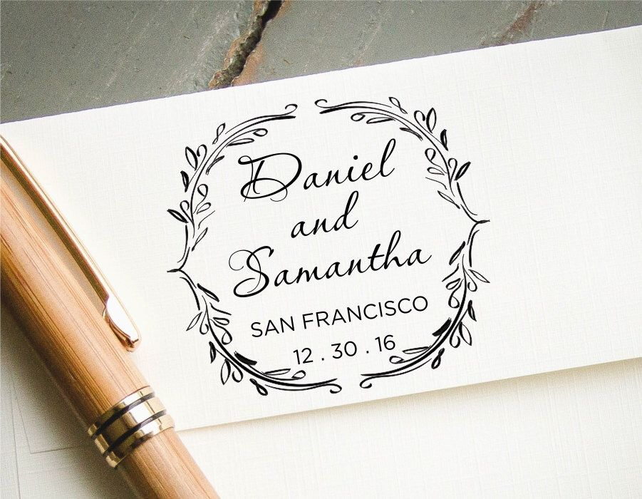 Personalized Rubber Stamps For Wedding Invitations: Round Save The Date Stamp, Self-Inking Custom Rubber Stamp