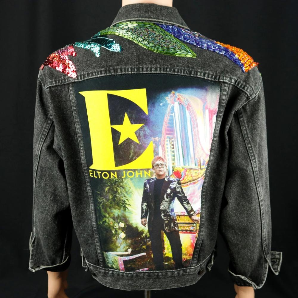 1 Elton John Levis Black Denim Jacket Beaded Usa Vintage Mens Small Classic Cotton Co Black Denim Jacket Black Denim Denim Jacket [ 1000 x 1000 Pixel ]