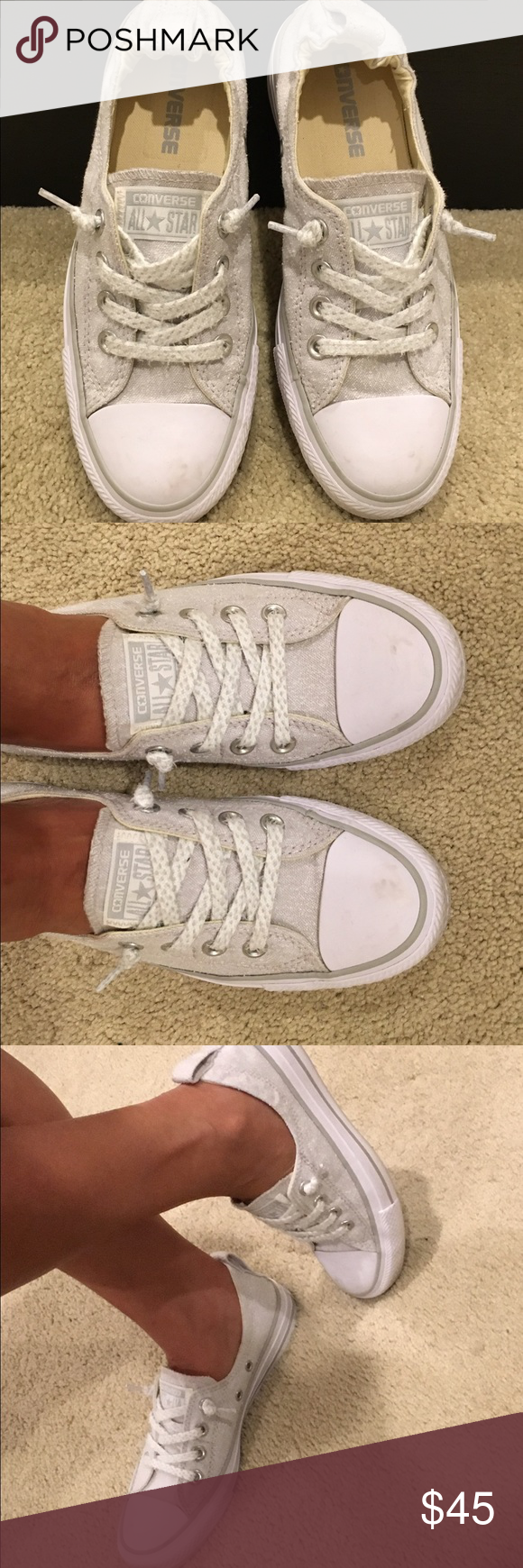 b747055965f168 Converse Women 6.5 Heather gray and white slip-on Converse. No-tie laces  and perfect fit heel. Super cute! Used exactly once but have to sell  because I m ...