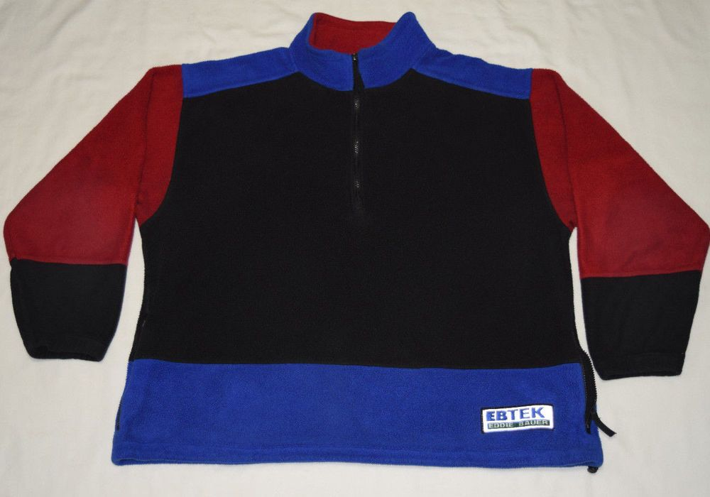 Rare Vintage 90s EBTEK Eddie Bauer Mens Fleece Top Sweatshirt Large Made in USA  #EddieBauer #FleeceTops
