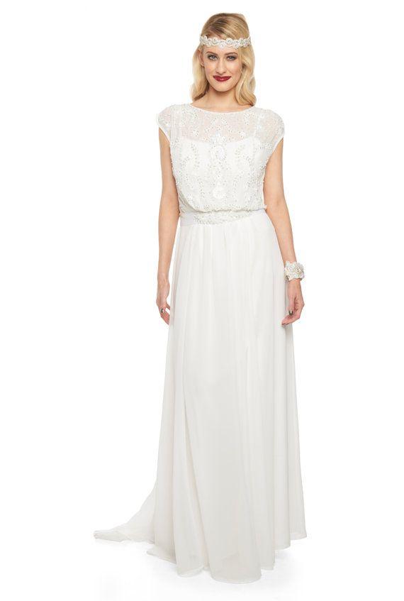 Roselyn Off White Wedding Prom Maxi Hochzeit Kleid Vintage 1920er ...