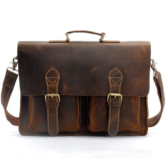 Handcrafted Crazy Horse Leather Briefcase