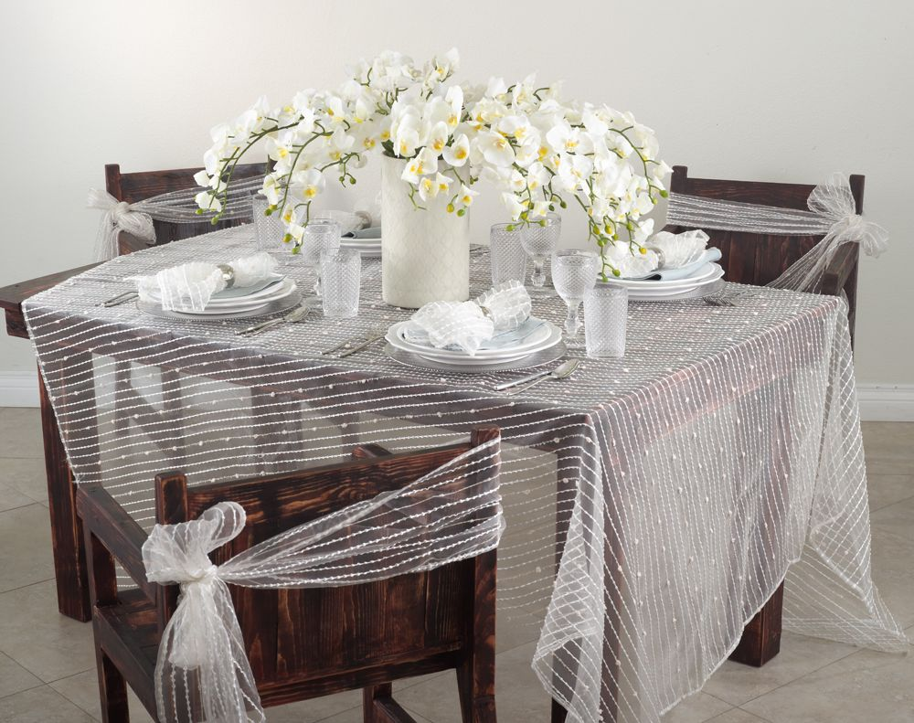 Fontani Collection Sheer Design With Fuzzy Stripes Napkin Chair Tie Topper And Tablecloth In Ivory Table Cloth Chair Ties Chair