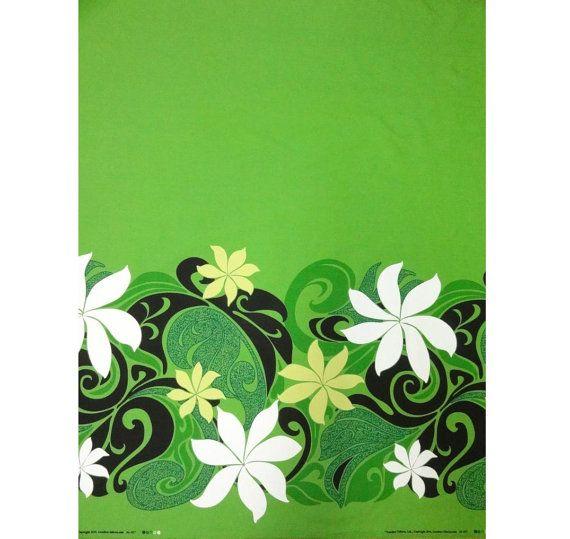 Fabric Polynesian Native Mandala Tattoo Patterns By The Yard HCN11665 Green Off-White