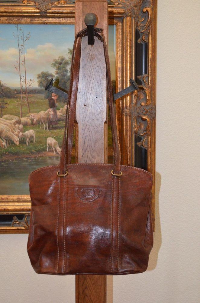 The Bridge Italian Vintage Brown Leather Shoulder Bag Handbag Purse Excellent Thebridge Shoulderbag