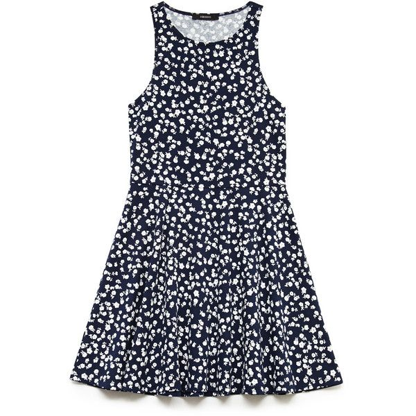 Forever 21 Dainty Blossom Skater Dress ($8.99) ❤ liked on Polyvore featuring dresses, floral print dress, blossom dresses, round neck dress, sleeveless skater dress and flower print dress