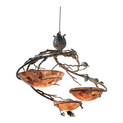 Verdigris Finished Steel and Patina Brass Chandelier, Penshell Inlay Bowls