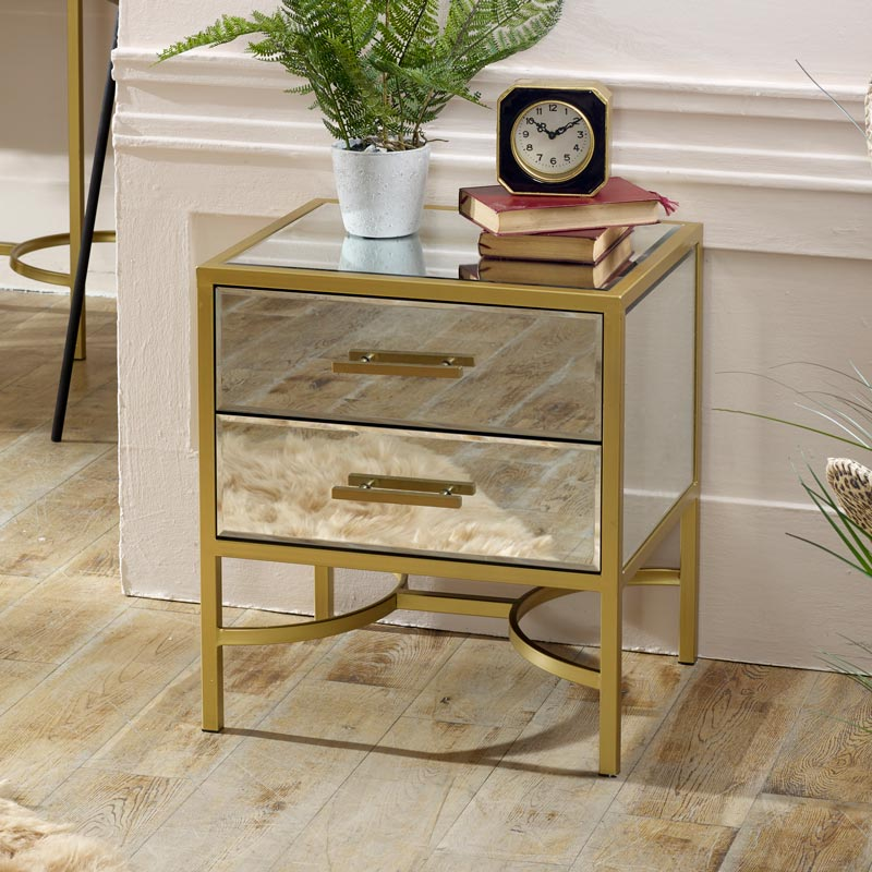Gold Mirrored Bedside / Occasional Table Venus Range in