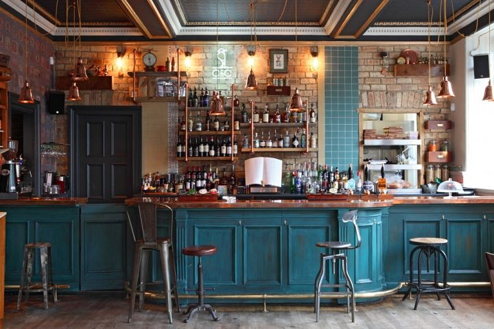 love this by no chintz the cross corner bar interior