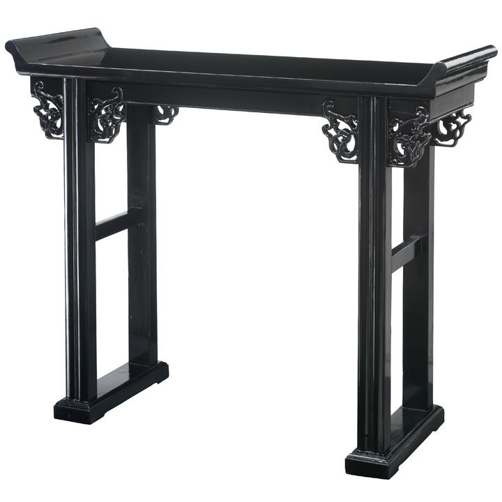 Chinese Altar Table in Elm Wood Natural or Black Lacquer Finish