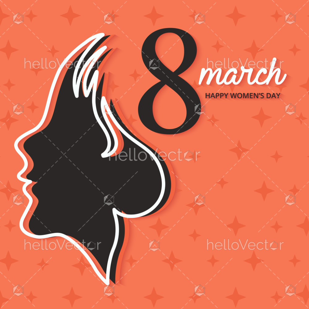 March 8 Happy Women S Day Vector Graphic With Woman Side Face Clipart Download Graphics Vectors Happy Woman Day Happy Women Ladies Day