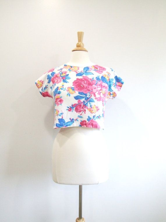 80s Crop Top Vintage 1980s Floral Cropped by RedsThreadsVintage, $19.00