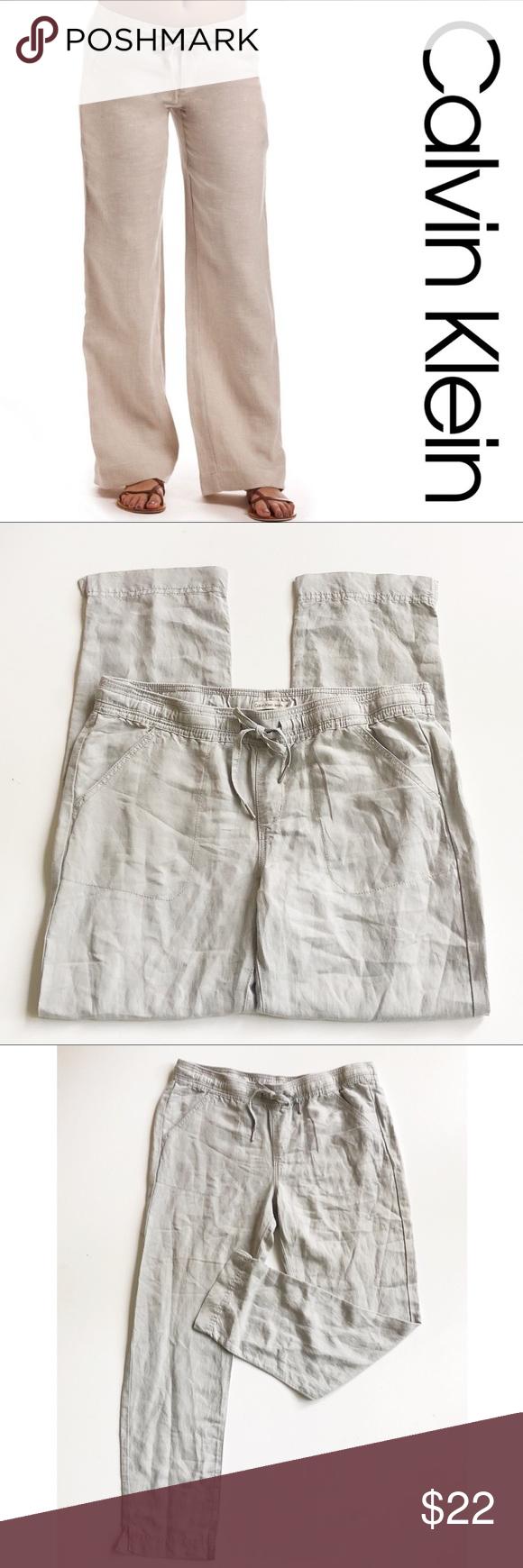 Calvin Klein Linen Wide Leg Pant in a