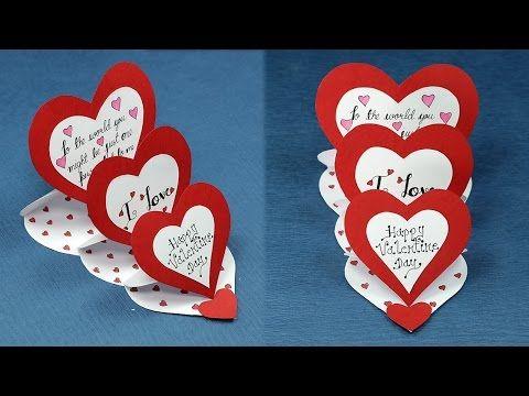 Diy Valentine Card How To Make Triple Easel Heart I Love You