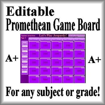 This Is An Editable Activinspire Promethean Game Board Jeopardy