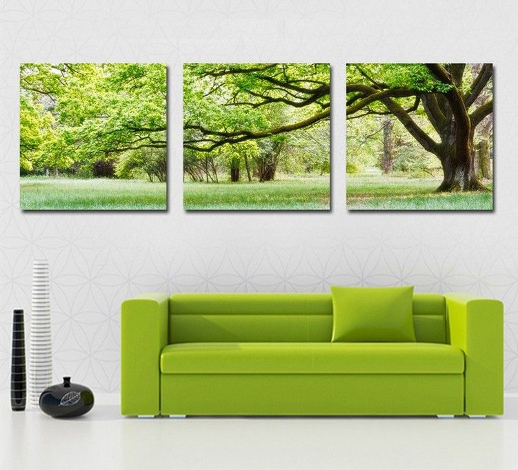Large Wall Pictures Picture   More Detailed Picture About HOME DECORATION 3  Piece Canvas Wall Art Tree Picture Canvas Painting Green Tree Painting  Large ...