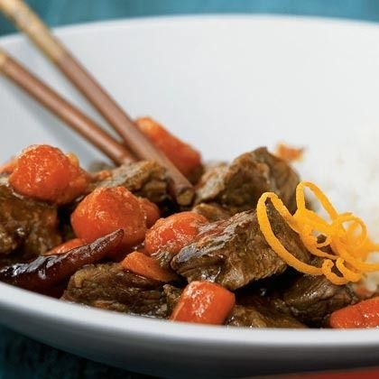 Spicy Orange Beef by Cooking Light. To avoid the bitter pith underneath the orange's skin, use a vegetable peeler or zester to remove just the colored peel. This Szechuan dish is spicy, but you can tame the heat by using fewer chiles, or by removing them from the Dutch oven before adding the beef. Substitute orange juice or other orange liqueur for the Grand Marnier if you like.