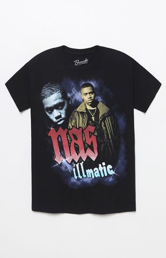 803cdc5b7 Thorw it back to the '90s in this fresh tee found at PacSun. The Nas  Illmatic T-Shirt has a crew neck, short sleeves, and a custom graphic of  the legendary ...