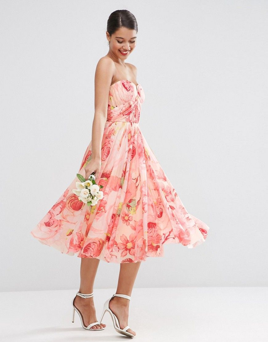 Image 1 of ASOS WEDDING Floral Printed Rouched Bandeau Mesh Midi ...