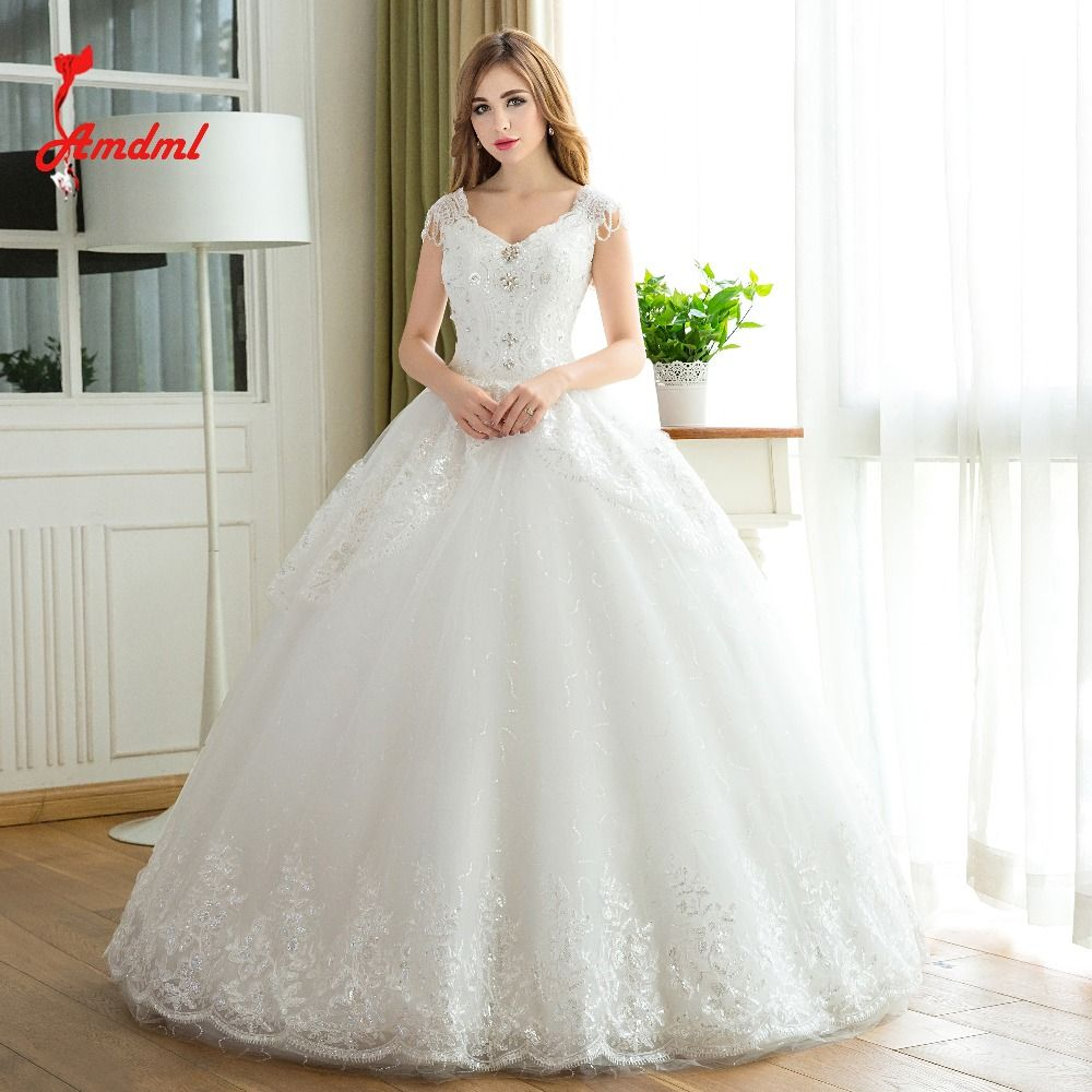 Click to buy ucuc amdml fashion bling tassel beaded ball gown wedding